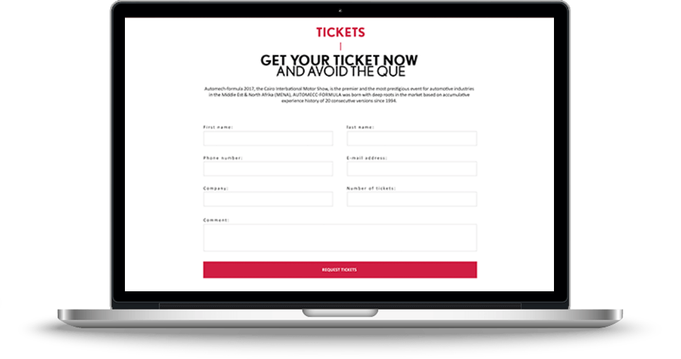 Automech Web Design, Social Media Tickets Page Screenshot